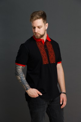 "Мужская рубашка поло с вышивкой ""Свет Солнца"" POLAM003"