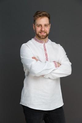 "Мужская льняная рубашка ""Праздничная"" SAROCHKAM001"