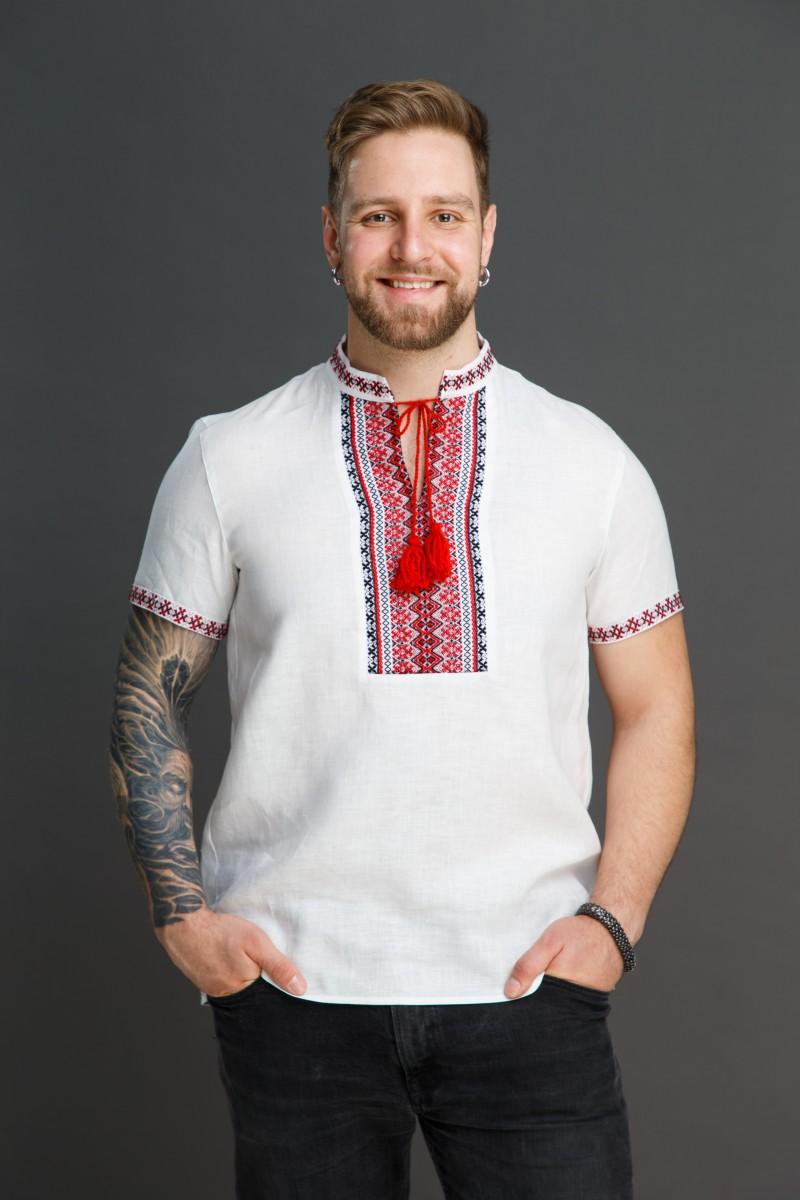 Мужская сорочка с тканым орнаментом. Фото 0