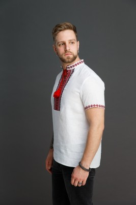 Мужская сорочка с тканым орнаментом. Фото 1