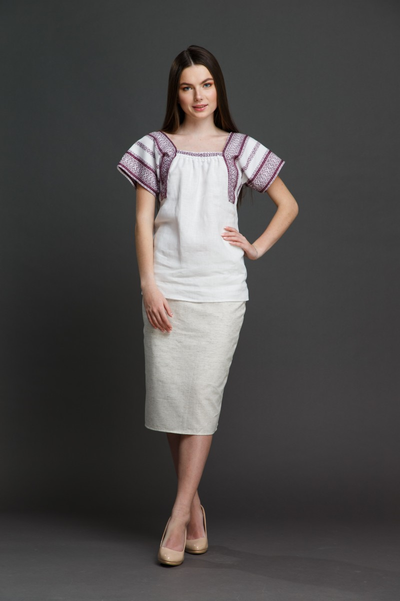 "Женская блузка ""Трапеция"" с орнаментом . Фото 2"