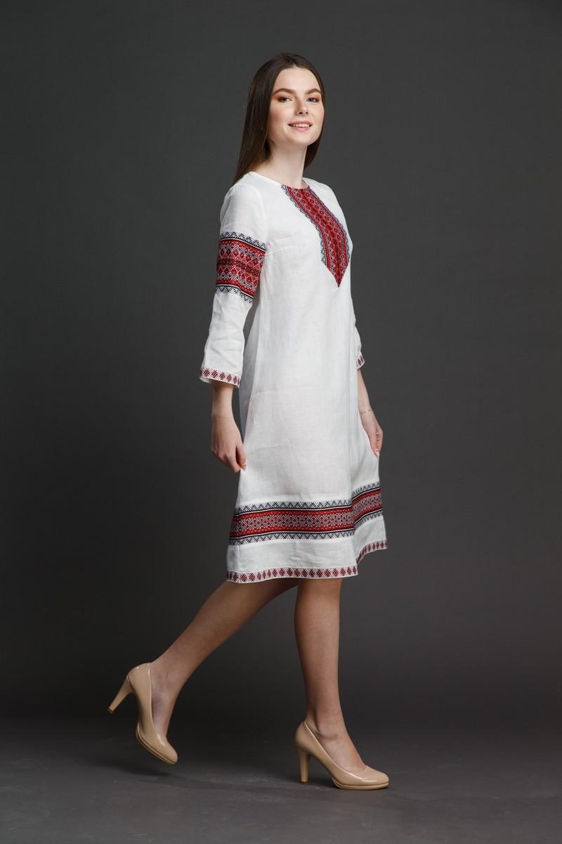 """Льняное платье """"Трапеция""""  с орнаментом. Фото 3"""