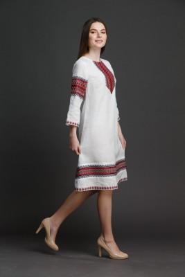 """Льняное платье """"Трапеция""""  с орнаментом SUKENKA001"""
