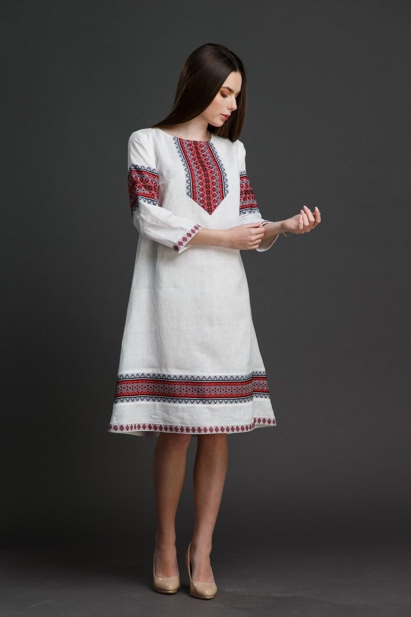 """Льняное платье """"Трапеция""""  с орнаментом. Фото 5"""