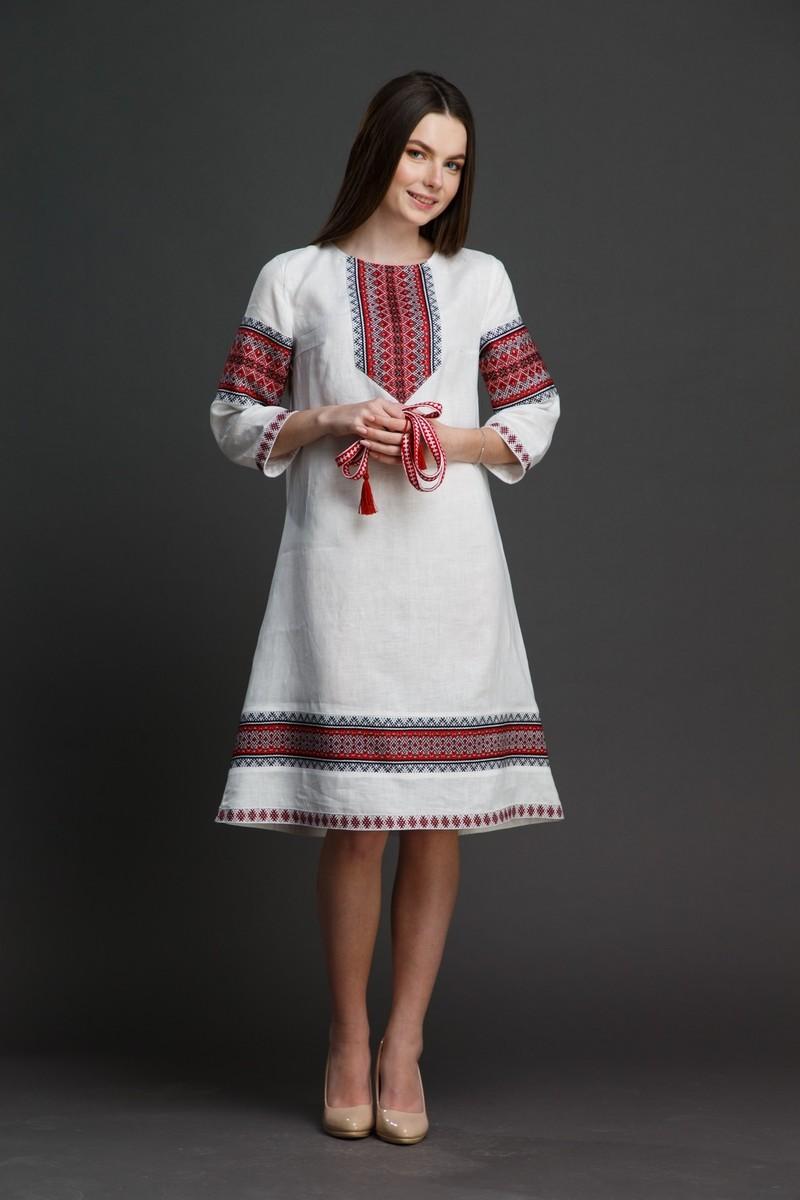 """Льняное платье """"Трапеция""""  с орнаментом. Фото 7"""