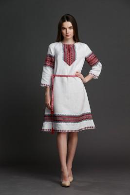 """Льняное платье """"Трапеция""""  с орнаментом. Фото 0"""