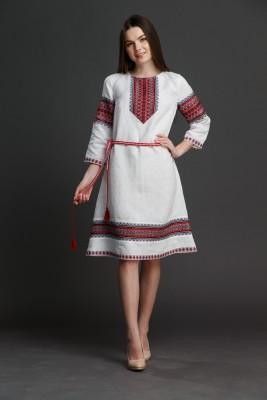 """Льняное платье """"Трапеция""""  с орнаментом. Фото 8"""