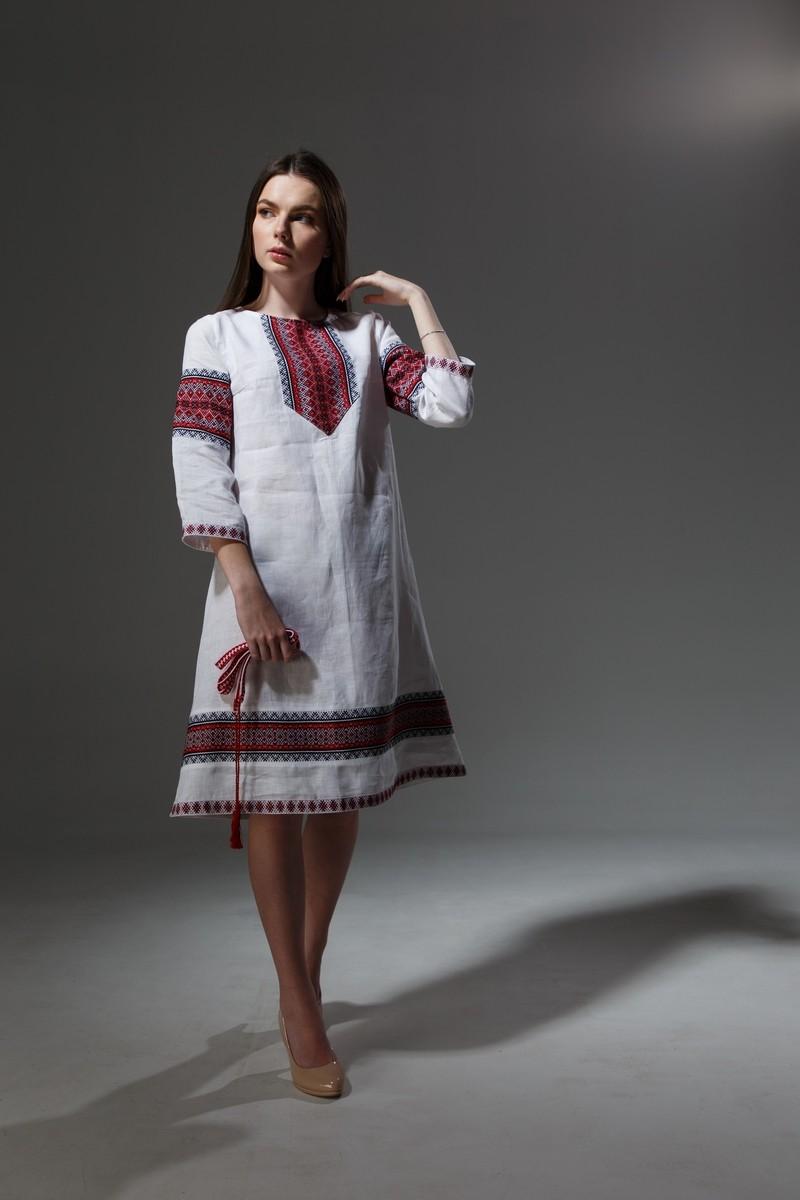 """Льняное платье """"Трапеция""""  с орнаментом. Фото 1"""