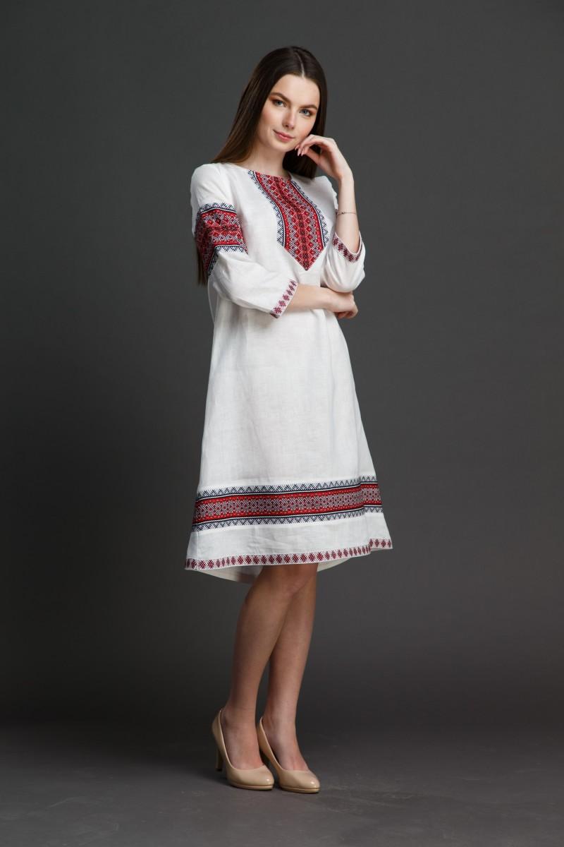 """Льняное платье """"Трапеция""""  с орнаментом. Фото 10"""