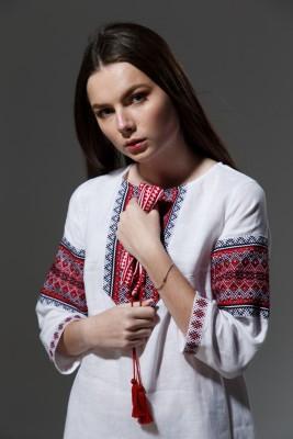 """Льняное платье """"Трапеция""""  с орнаментом. Фото 11"""