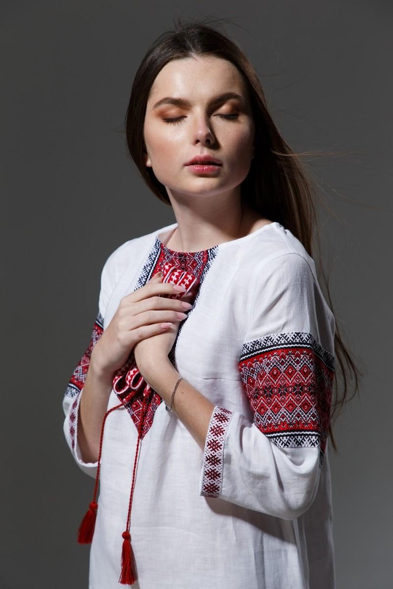 """Льняное платье """"Трапеция""""  с орнаментом. Фото 12"""