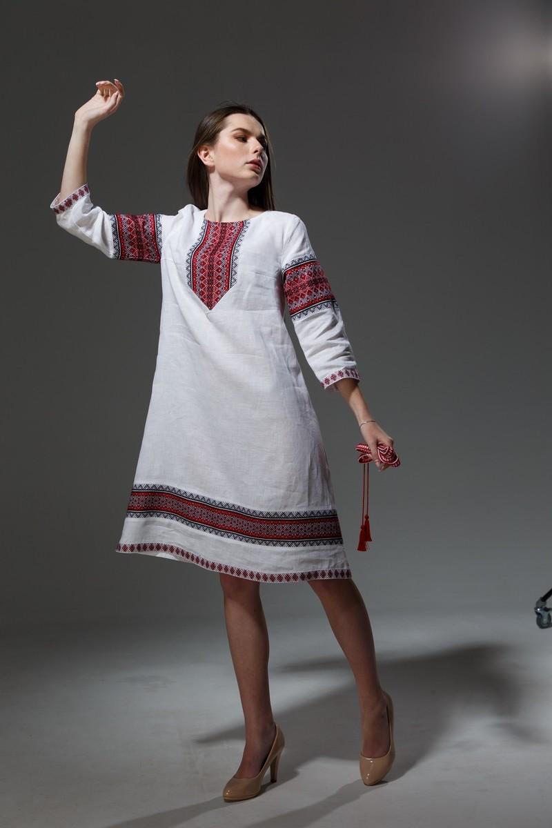 """Льняное платье """"Трапеция""""  с орнаментом. Фото 13"""