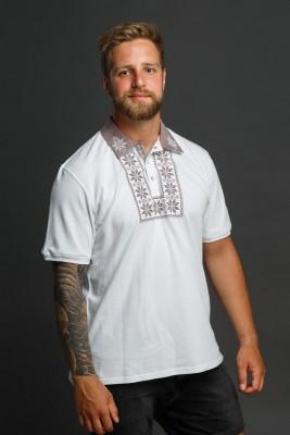 Мужская рубашка-поло с вышивкой и бежевым декором. Фото 2