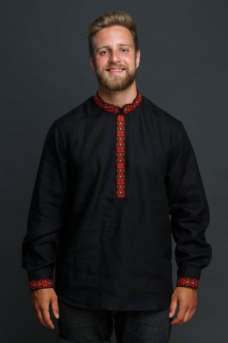 """Мужская льняная рубашка """"Праздничная"""" в черном цвете. Фото 0"""