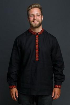"""Мужская льняная рубашка """"Праздничная"""" в черном цвете SAROCHKAM002"""
