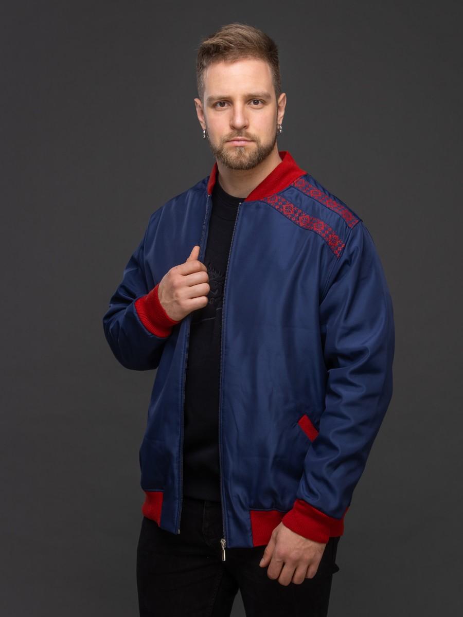 Куртка-бомбер тёмно-синий. Фото 6