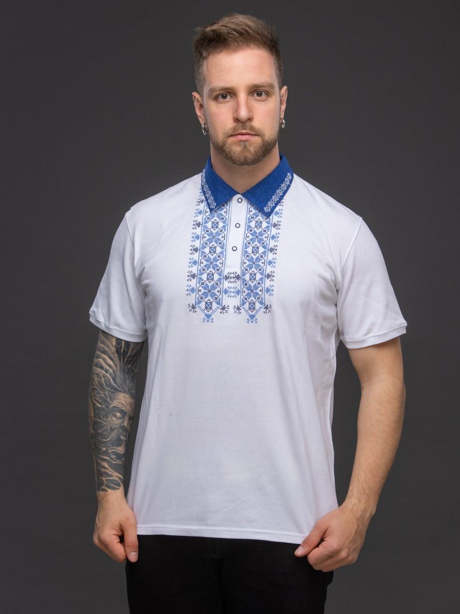 Мужская рубашка-поло с вышивкой и сінім декором. Фото 0