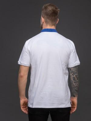 Мужская рубашка-поло с вышивкой и сінім декором. Фото 3