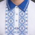 Мужская рубашка-поло с вышивкой и сінім декором. Фото деталей товара 5